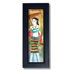 Oriental-Décor - Maid with Sun Parasol - Fashionably charming and breathtakingly beautiful, this endearing Thai framed painting will make a treasured addition to any wall or spot in your home. A gorgeous young maiden decked in traditional Thai dress is the theme of this special Thai painting. The many colors that compose her dress add a vibrant effect to the piece. In her right hand she holds an Oriental parasol while in her left, a basket of yellow daisies. This fabulous hand-painted work is surrounded by a black wooden frame for a rich finish. Hang it on your wall or mount it to any flat surface for an attractive decorative show.