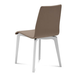 Domitalia - Jude-L Ashwood Legs - Taupe - White Mat Lacquered Frame - Set of 2 - Domitalia's Jude-L Chair merges quality comfort with modern design. The upholstered shell has curves in all the right places for comfort and stability. This subtle design fits easily into nearly any living or dining space, or in your working space. The solid ashwood frame with a natural White Ash or White Lacquer finish pairs with abrasion-resistant polyester/PVC fabric in Black or Taupe for a versatile composition. Sold only in sets of 2.