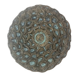 Candle on the Water Pottery - Candle on the Water: Seashell Sunburst Wall Art - Stunning sunburst wall art with notch for hanging.  Indigo, black and turquoise glazes offer dimension and texture.  One of a kind.