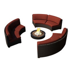 Harmonia Living - Arden Eclipse 3 Piece Round Sectional Set, Henna Cushions - Make the perfect outdoor gathering hotspot with the Arden Eclipse 3 Piece Sectional Set with Red Sunbrella® Cushions (SKU HL-ARD-E-3SEC-CH-HN). With a modern wicker design, clean curves, and beautiful teak feet, this sectional set has curved seating and makes a great match for patios with fire pits or circular tables, allowing you to createa stylish outdoor lounge. Each loveseat includes cushions covered in the industry's favorite Sunbrella fabric, outdoor-grade fabric that's made to be mildew and fade resistant. Each piece is made from High-Density Polyethylene (HDPE) wicker and is infused with a beautiful Chestnut finish that's textured to give it an authentic appeal. Underneath the wicker is a thick-gauged aluminum frame, providing incredible corrosion resistance and stability. The seats have additional reinforcements to prevent excessive wicker stretching after repeated use, another feature that keeps this set looking and performing great throughout the years.