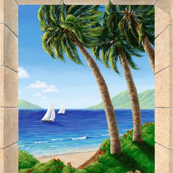 Murals Your Way - Palm Fantasy Wall Art - Painted by Dina Farris Appel, the Palm Fantasy wall mural from Murals Your Way will add a distinctive touch to any room