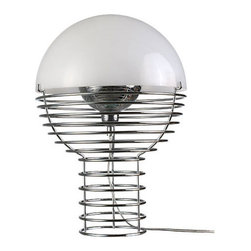 Verpan - Panton Wire Table Lamp - Brighten your bedside with this chic table lamp designed by Verner Panton. A cylindrical wire cage that widens into a sphere topped with a pretty plastic shade, it's a striking accent blazing with brilliant style.