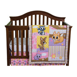 """Trend Lab - Lola Fox And Friends - 3 Piece Crib Bedding Set - Discover the beautiful wilderness with Lola Fox! Trend Lab's Lola Fox and Friends 3-Piece Crib Bedding Set features Lola Fox with her adorable baby woodland friends interacting in a delightful patch-like scene. Decorative quilting stitches add a gorgeous flair, bringing the cute little critters to life, while a variegated stripe frame and chocolate trim add detail and dimension to this adorable group. Dress up your nursery with beautiful prints and endearing characters featured in a fashionable color palette of bubblegum and hot pink, violet, caramel, cantaloupe and buttercup, with cinnamon, oak and slate accents. Quilt measures 35"""" x 42"""" and features charming little critters in a patch-like scene on the front and a baby woodland animal scatter print on the back providing decorating versatility. Crib sheet features a lovely white based mini floral print in bubblegum and hot pink, violet, cantaloupe, buttercup and slate. Sheet fits a standard 52"""" x 28"""" crib mattress and has 8"""" deep pockets with elastic surrounding the entire opening ensuring a more secure fit. Box Pleat Skirt with 13.5"""" drop features an adorable baby woodland animal scatter print in a lovely color palette of bubblegum and hot pink, violet, caramel, cantaloupe, and buttercup. Coordinating Lola Fox and Friends Crib Bumpers and room accessories by Trend Lab are sold separately."""