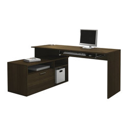 "Bestar - Bestar Modula L-Shape Workstation Desk in Tuxedo - Bestar - Computer Desks - 904261178 - Modula L-shaped desk is perfect for small spaces. This compact workstation will give a modern look to your work environment. Durable 3/4""commercial grade work surfaces with melamine finish that resist scratches stains and wears. The desk offers two shelves one of which is adjustable and one file drawer with letter/legal filing system. File drawer and keyboard shelf are on ball-bearing slides for smooth and quiet operation. Fully reversible unit. Also available in Secret Maple and White."