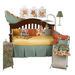 Cotton Tale Designs - Gypsy 8pc Crib Bedding Set - Gypsy 8pc crib bedding by Cotton Tale Designs is a wonderful blend of warm colors and beautiful, stimulating patterns.