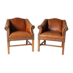 Distressed Camel Leather Club Chairs - A Pair - Dimensions 31.0ʺW × 25.0ʺD × 31.0ʺH