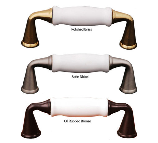 Porcelain Cabinet Pulls - here is something so romantic about porcelain. After all, it is a symbol of beauty and elegance. RK International's Traditional Cabinet Pull with White Porcelain has a 3 inch center to center and is available with oil rubbed bronze, satin nickel, or polished brass finish accents. Add classic beauty to your home with these cabinet door pulls.