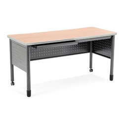 OFM - Executive Series Computer Desk with 2 Pencil Drawers - This heavy-duty table Features: -Desk.-Mar-proof high pressure laminate surface.-Heavy-duty table.-Two pencil drawers.-The round steel tube legscasters on two legs and adjustable leg glides on the other two.-2 pencil drawers and a generous 25.5''x55'' high-pressure laminate tabletop. The 16-gauge steel frame is both strong and sturdy. The round steel tube legs feature casters on two legs and adjustable leg glides on the other two, making this a mobile training table that can move exactly where needed. The 16-gauge steel frame is both strong and sturdy.-Executive Series collection.-Designed and built for commercial use.-Distressed: No.-Collection: Executive Series.Dimensions: -Overall dimensions: 29'' H x 55'' W x 25.5'' D.-Overall Product Weight: 88 lbs.Assembly: -Specifications:.-Assembly required.