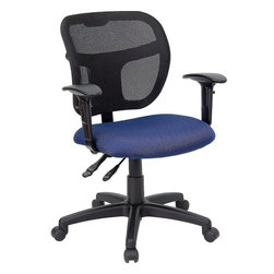 Flash Furniture - Flash Furniture Mid-Back Mesh Task Chair with Navy Blue Fabric Seat and Arms - Upgrade your standard mesh office chair with this multi-functional version. When you need more adjusting capabilities than your standard office mesh chair this will exceed your expectations. The breathable mesh back keeps you cool when sitting for long periods of time. The firm, comfortably padded seat will keep you at ease during work or while leisurely browsing. Whatever your need this chair will perform for you! [WL-A7671SYG-NVY-A-GG]
