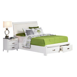 Homelegance - Homelegance Lyric 5-Piece Storage Platform Bedroom Set in White - Taking the expected design elements of hard contemporary and putting a decidedly feminine curve into the mix makes the Lyric collection a unique addition to your new bedroom design. With each curve comes a new twist - satin nickel hardware accents the glossy white finish, bow-front case pieces feature ball bearing drawer glides and compliment the Padded sleigh headboard & footboard, while a round, contemporary mirror reflects the modern designs that you have selected. A final, unique, addition to the collection is the Glass topped night stand that furthers the contemporary feel.