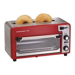 Hamilton Beach - Two Slice Toaster Red - 2-Slice - Red/Silver - This Toastation Toaster and Oven combo lets you quickly toast, bake and heat your favorite foods. It is a fully functioning two-slice toaster with extra wide top toasting slot that accommodates bagels and wide breads, toast shade selector, cancel and auto-shutoff. As an oven, it features a spacious interior that accommodates baked potatoes and tall and open-face sandwiches. It is perfect for appetizers, pizza, chicken nuggets, French fries and more. You can even bake muffins and cookies. Removable crumb tray.