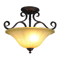 "Trans Globe Lighting - Trans Globe Lighting 21053 Two Light Garland 18"" Semi Flush Mount Ceiling Fixtur - Trans Globe Lighting 21053 New Century Two Light Garland 18"" Semi Flush Mount Ceiling FixtureAn oil rubbed bronze finish combined with antiqued amber scavo glass and Victorian style decorative ribbon iron work brings home a traditional style. Whether as an accent piece or the main light source in the hallway, this semi flush mount ceiling fixture offers classic victorian elegance and value.Victorian style decorative ribbon iron work brings home a traditional style. With the oil rubbed bronze finish and curved lines adds the sophisticated touch. Amber scavo glass shades adds the finishing touch on a charming series.Features:"