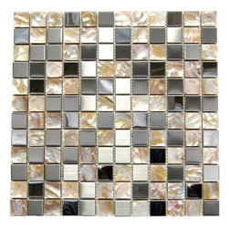 """Opulence - Tiles Size Shown: 12in x 12in x 8mm; Material: Metal, Mother of Pearl; Chip Size: 1"""" x 1""""; Chemical, Fading, and Discoloration Resistant"""