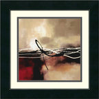 """Amanti Art - """"Symphony in Red and Khaki II"""" Framed Print by Laurie Maitland - Create a thoughtful mood with a dramatic burst of light, breaking from behind golden-grayish clouds, above a crimson and black sea. Abstract though it may be, Laurie Maitland's print evokes light and shadow with a simple palette of red and khaki. Fine lines in jet black and white provide details and add an unexpected twist."""