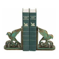 Sterling Lighting - 2 Pc Chastain Birds with Spread Out Wings Bookend Set - Chastain bookends featured antiqued birds. Wings spread out while standing on a piece of branch. Great accent decor. Can decorate a table or shelf and to hold up books. Crafted from durable composite material. Copper and Teal finish. 9.75 in. L x 3.25 in. W x 5.75 in. H (3 lbs.)Sterling Industries specializes in bringing creativity and imagination to decorative home accessories. Sterling's strong design innovation and quality manufacturing ensure products that are stylish and in demand.