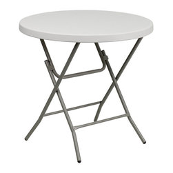 Flash Furniture - Flash Furniture Round Granite Plastic Folding Table in White - Flash Furniture - Folding Tables - RB32RGWGG - This unique commercial grade table can be used in banquet halls cafeterias or in the home. This table is a great solution for temporary seating for gatherings.