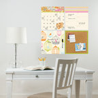 New for Back to School & Dorm Room Decor - Pretty dry-erase calendar and message board decals and cork organization kit New for Back to School & Dorm Room Decor