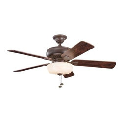 """Kichler - 52"""" Saxon Select 52"""" Ceiling Fan Tanneray Bronze - Kichler 52"""" Saxon Select Model KL-339212TZ in Tanneray Bronze with Reversible Teak/Cherry finished blades."""