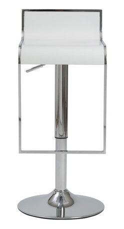 Eurostyle - Fortuna Bar/Counter Stool-White/Chrome - When you gaze at this gorgeous stool, you can't help but admire the soothing curves that flow from the backrest and down through the seating area. There's also the lively sheen on the footrest and frame, further contributing to its sleek appeal.