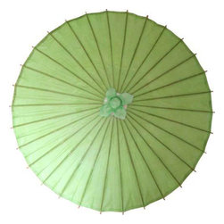 Oriental-Décor - Sultry Lime Parasol - Green is the one of the most wonderful and celebrated hues in the color spectrum. It represents rebirth, fresh energy and has a very calming effect on the nerves. This sultry lime green paper parasol is ideal for creating a soothing decorative look in any scene. It can also be used outdoors for protection from the sun. In feng shui, green is a wood element color and is often used to facilitate healing. Use this green Chinese parasol in your home decor for a spectacular finishing touch.