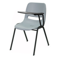 Flash Furniture - Flash Furniture Ergonomic Shell Chair in Gray - Flash Furniture - Guest Chairs - RUTEO1GYLTABGG - This is the perfect tablet arm chair for any classroom or training room setting. The simplistic design makes this Flash Furniture Tablet Arm Chair a versatile and welcomed addition to your school or in the home. This chair features a comfort-formed back and contoured seat with waterfall front. Along with a comfortable sitting experience you get the added security that this chair will endure the test of time. [RUT-EO1-GY-LTAB-GG]