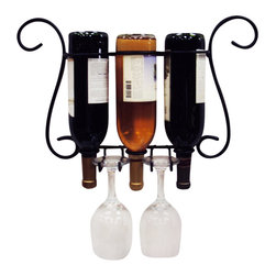 J&J Wire - 20 in. Wine and Glass Holder - Wine, glasses and screws not included. Heavy construction. Welded fabrication. Holds three bottles and two wine glasses. Easy wall mount. Made from sturdy wrought iron. Black powder coated finish. Made in USA. No assembly required. Fits narrow wine bottles, no champagne type bottles. Top loop: 3.125 in.. Lower loop: 1.25 in.. 20 in. W x 5 in. D x 12 in. H (2 lbs.)Showcase your three bottles of wine and two wine glasses on you your wall. This simple but elegant design will free up counter space while giving you easy access to your wine and glasses. The sturdy iron is cured under heat to provide a durable black powder-coat finish.