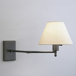 """Robert Abbey - David Easton Meilleur Double Swing Arm Wall Sconce in Deep Patina Bronze - The Meilleur Collection by David Easton offers functional lighting with a refreshing simplicity. This one light swing arm wall sconce features smooth lines and a clean light beige linen shade with a rolled edge hem. The uncomplicated design is finished in deep patina bronze and includes a full range dimmer switch for easy lighting control. Perfect for placing in a small room that lacks space for a large floor lamp, this charming light will create a naturally soft glow that enhances ur decor while it illuminates. Features: -One light double swing arm wall sconce -Meilleur Collection -Designed by David Easton -Deep patina bronze finish over brass -Light beige linen shade with rolled edge hem -Includes full range dimmer switch -Cord cover/direct wire -Requires one 100W max B10 candelabra bulb (not included) -Shade Dimensions: 4.25""""(top diameter) x 9.25""""(bottom diameter) x 6.5""""(height) -Backplate dimensions: 6"""" x 4"""" -Overall dimensions: 11"""" H x 22"""" D"""