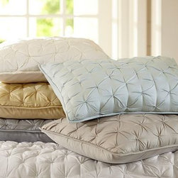 Isabelle Tufted Voile Quilt, Full/Queen, Porcelain Blue - Light, airy cotton voile finished with textural tufted details forms this versatile, comfortable bedding that's perfect for adding warmth and rustic-luxe style year-round. Made of pure cotton. 200 gram poly batting. Front tufted by hand. Hand quilted. Sham has a side tie closure. Quilt, sham and insert sold separately. Dry-clean only. Imported.