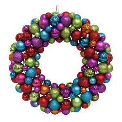 Shatterproof Ornament Wreath, Multi Color - I know it's made of ornaments, but I love this funky wreath for year-round decor.