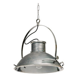 Closer Look Pendant Light - Get an industrial kick from this broad-shaded pendant lamp. With a handled, laboratory-inspired metal shade, it's a cool and unusual choice for the office or dinette.