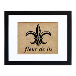 Fiber and Water - Fleur De Lis Art - A classic of French design, the Fleur-de-lis always adds an elegant flair to your decor. This vintage-style print is hand-pressed onto natural burlap for a hint of rustic nostalgia and then framed in a crisp, contemporary black frame and white matte for a versatile and classy finish.