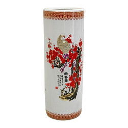 """Oriental Furniture - 24"""" Cherry Blossom Porcelain Umbrella Stand - Cherry blossoms and white cranes are symbols of happiness and fortune in the Far East, rendered here in bright colors with calligraphy script. This two foot tall cylinder-shaped umbrella stand is perfect for walking sticks, canes, and umbrellas, wet or dry."""