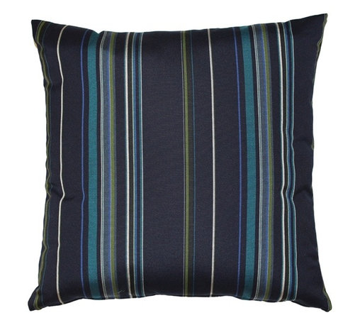 Pillow Decor - Pillow Decor - Sunbrella Stanton Lagoon 20 x 20 Outdoor Pillow - Just as the deep blue sea meets the turquoise, blues and greens of a tropical reef, the Stanton Lagoon 20 x 20 Outdoor Throw Pillow combines alternating stripes of dark navy blue, teal, royal blue and green. Pair it with Sunbrella True Blue, Palm Green or Aruba solid color pillows and embrace the colors of the tropics.