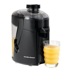 Hamilton Beach - Hamilton Beach - HealthSmart Juice Extractor - Healthy, fresh-tasting fruit & vegetable juices. Powerful 400 Watt motor. Large, easy-to-remove pulp bin. Durable stainless steel cutter/strainer. 25 food & drink recipes included. Safety latches. Convenient spout
