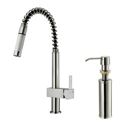 Vigo - Vigo Stainless Steel Pull-Out Spray Kitchen Faucet with Soap Dispenser - You deserve a kitchen that reflects your personality. Why not start with this stylish and durable Vigo faucet for your sink?