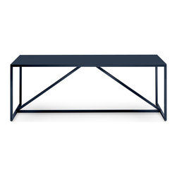 Blu Dot - Blu Dot Strut Large Table, Navy - Structure and design are one with the Strut. A proud stance for any gathering. Conferencing for ten, dining for eight, or a power desk for one. In ivory, navy, slate, watermelon or white. Powder-coated steel frame with a durable polyurethane MDF for the top.