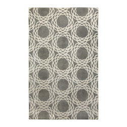 COCOCOZY - COCOCOZY Princeton Light carbon Cream Wool Rug - The hand-knotted COCOCOZY Oxford rug recalls geometric inspiration in playful panache. Rolling across neutral gray, a series of ivory circles create whimsical sophistication.  100% New Zealand wool. Available in various sizes. Rug pad and professional dry cleaning recommended.