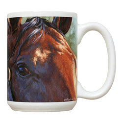 525-Bay Horse Mug - 15 oz. Ceramic Mug. Dishwasher and microwave safe It has a large handle that's easy to hold.  Makes a great gift!