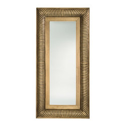 "Arteriors - Malin Mirror - Large - This square carved wood frame is clad in antique brass sheet.  The mirror has a one-inch bevel.  Use alone or in a combination of Small and Large.  Attaches with a saw tooth hanger.  Small mirror: 15"" w x 2"" d x 15"" h  Large mirror: 15"" w x 2 1/2"" d x 31"" h"