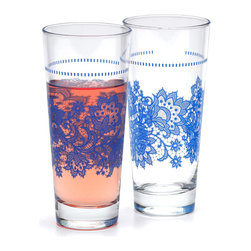 Quench Glassware - Njoy: Lace Glasses (2 pack), Blue - A bright variation of our best-selling Lace Glasses. Gorgeous lace in a bright blue hue with a feminine, vintage feel. These beauties coordinate with our Njoy collection or any setting in need of fancy flair.