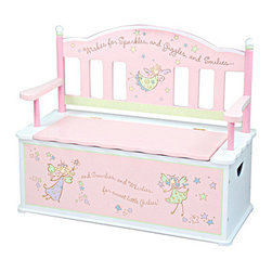 Levels of Discovery - Fairy Wishes Bench Seat with Storage - Charming bench seat with fanciful fairy seat back  Special Message: Wishes for Sparkles and Giggles and Smilies�and Swirlies and Whirlies for sweet little Girlies Plenty of storage for toys, books and more Slow-closing metal safety hinge Special message. Slow-closing metal safety hinge. All products have instructions included for assembly. .