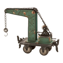 None - Metal Table Top Statue - Add a rustic touch to your home office or den with this classic table-top statue. Reminiscent of days gone by, this iron alloy decorative piece is sure to bring a touch of nostalgia to your living space.