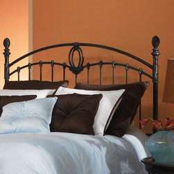 """FBG - Coronado Metal Headboard - This headboard is a transitional styled metal piece with curved top rails, delightful woven-look finials, a large center casting on the grills as well as dozens of smaller castings on its many spindles and posts. The headboard is finished in a deep tarnished copper color with an aged blue patina hang-up in the crevices of the castings. Features: -Linens and mattress are not included.-Tarnished copper finish.-Gloss Finish: Yes.-Upholstered: No.-Powder Coated Finish: No.-Hardware Material: Metal.-Non Toxic: Yes.-Scratch Resistant: No.-Adjustable Height: No.-Lighting Included: No.-Wall Mounted: No.-Reversible: No.-Hardware Finish: Tarnished Copper.-Finished Back: Yes.-Distressed: No.-Hidden Storage: No.-Freestanding: No.-Frame Required: Yes.-Frame Included: No.-Drill Holes for Frame: Yes.-Collection: Coronado.-Swatch Available: No.-Eco-Friendly: No.-Product Care: Wipe with a clean, damp cloth.-Recycled Content: No.Specifications: -EPP Compliant: No.-CPSIA or CPSC Compliant: Yes.-ASTM Certified: No.-ISTA 3A Certified: Yes.-General Conformity Certificate: Yes.-Green Guard Certified: No.Dimensions: -Overall Height - Top to Bottom (Size: Full): 58.25"""".-Overall Height - Top to Bottom (Size: Queen): 58.25"""".-Overall Height - Top to Bottom (Size: King): 58.25"""".-Overall Depth - Front to Back (Size: Full): 1.5"""".-Overall Depth - Front to Back (Size: Queen): 1.5"""".-Overall Depth - Front to Back (Size: King): 1.5"""".-Overall Product Weight (Size: Queen): 31 lbs.-Overall Product Weight (Size: King): 34 lbs.-Overall Product Weight (Size: Full): 28 lbs.-Top of Headboard to Bed Frame: 32.25"""".-Bottom of Headboard to Floor: 26"""".Assembly: -Assembly Required: Yes.-Tools Needed: Tools included.-Additional Parts Required: No.Warranty: -Covered by 10 year limited manufacturer's warranty."""