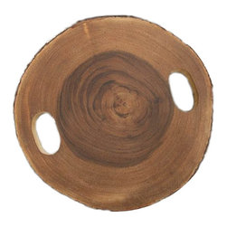 Rustic Wooden Brown Tray - Add rustic charm to your table decor with our Acacia wood slice cheese board. Perfect for entertaining in your home, weddings and special events. Our circular serving tray has a light smoked wood scent, measures approximately 13 -15 inches in diameter and is about 1.25 inches thick. As in nature, every piece is unique and the age rings of the tree slice is the perfect backdrop for your appetizers. Not only great used as a cheese board, but they can also be displayed as part of a centerpiece or at events for carrying drinks and snacks.