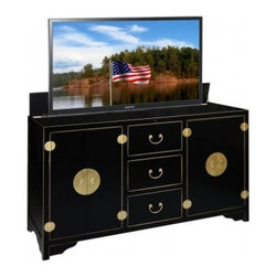 Asian Inspired TV Lift Cabinets - Dynasty Black TV Lift Cabinet
