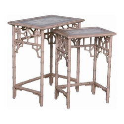 """Guildmaster - Global Bamboo Nesting Tables by Guildmaster - The Global Bamboo Nesting Tables are way to cool to hide away. The two tables have an artisan stain finish. A hand-painted canvas of a blue Moroccan motif is mounted to the table tops to enliven your sitting area. Angle them at the end of a sofa or between two chairs and separate them when an additional table is needed. (GM) 28"""" High x 24"""" Wide x 16"""" Deep"""