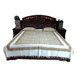 Bed Room Decor Ideas - This bedspread set comes to you from India.Elegant blue beige white floral printed white base handloom cotton bedspread.