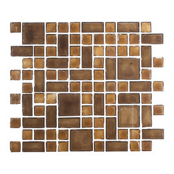 "Susan Jablon Mosaics - Cocoa Brown Handmade Glass Tile Mix - This glass tile blend is a mix of 1"", 1"" x 3"", 2"" cocoa brown hand made glass mosaic tiles. If your light or brown toned counter top is busy, this will be the perfect touch for your back splash. With it's rustic edges, it gives a wonderfully natural, organic feel anywhere it's used. Use these tiles today for your new or remodeled kitchen backsplash, bathroom or any wall in your home or business.It is very easy to install as it comes by the square foot on mesh and it is very easy to clean! About a decade ago, Susan Jablon re-ignited her life-long passion for mosaics and has built a customer-focused, artist-driven, business offering you the very best in glass and decorative tiles and mosaics. We are a glass tile store committed to excellence both personally and professionally. With lines of 100% SCS Qualified recycled tile, 12 colors and 6 shapes of mirror, semi precious turquoise stones from Arizona mines, to color changing dichroic glass. Stainless steel tiles in 8mm and 4mm and 12 designs within each, and anything you can dream of. Please note that the images shown are actual photographs of the tiles however, colors may vary due to the calibration of each individual monitor. Ordering samples of the tiles to verify color is strongly recommended."