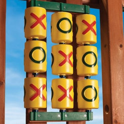 Gorilla Playsets Tic Tac Toe Panel - Add fun and games to your play set with the Gorilla Playsets Tic Tac Toe Panel. This is a fun addition to your wood playset that will keep even older kids entertained for hours. The kit includes all you need to easily install this spinning tic tac toe game to your Gorilla Play Set or Fort. It measures 12L x 3.5W x 19H inches and is bright yellow with green and red accents, and green base. It comes with 9 multi-colored spinner cylinders, 3 powder-coated alloy spindles, 9 spacer bushings, 2 mounting flanges, and 8 wood screws. To properly install, this game requires two 23.75L wood boards (not included). About Gorilla PlaysetsGorilla Playsets are made of quality materials with your child's safety in mind. Gorrila Playsets is an industry leader in safety and innovation. Premium lumber, maintenance-free poly coated wood beams, and heavy-duty hardware ensure your playset is durable enough to last throughout the years. Safety features like angled ladders with flat, wide steps ensure Gorilla Playsets meet all ASTM standards and specifications. Gorilla Playsets are easy to assemble and all include a 3-D illustrated manual to help.