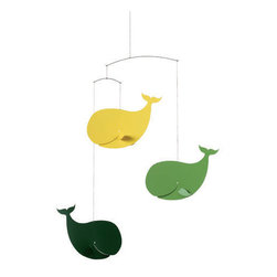 Flensted Mobiles - Happy Whales Mobile - Green and Yellow - Save the whales! This sweet mobile features a pod of happy whales grinning from fin to fin. It adds a pop of personality and color wherever it hangs, and serves as a sweet reminder to protect our oceans and the animal life within.